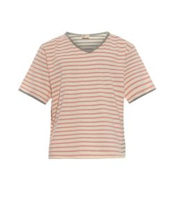 THADDEUS O'NEIL | Striped V-Neck Cotton T-Shirt