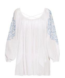Juliet Dunn | Embroidered-Sleeve Cotton Kaftan