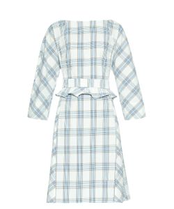 TRADEMARK | Belted Plaid Cotton Dress