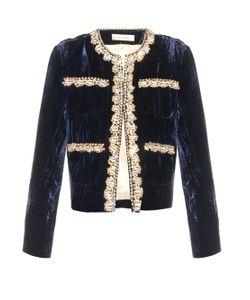 WALES BONNER | Aime Embellished Crushed-Velvet Jacket