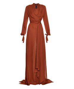 JUAN CARLOS OBANDO | Moroccan V-Neck Silk-Georgette Gown