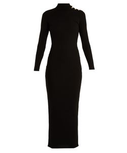 Balmain | High-Neck Ribbed-Knit Wool Dress