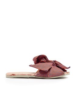 BROTHER VELLIES | Burkina Checked-Bow Leather Slides