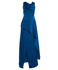 Roland Mouret | Alford Hammered Silk-Satin Cowl-Neck Gown
