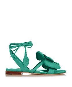 OLGANA PARIS   Dahlia Floral-Detail Suede Wraparound Sandals