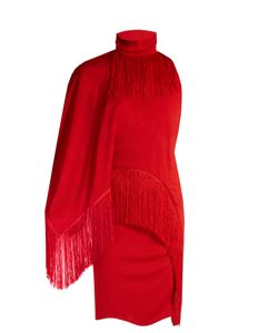 Givenchy | Fringed High-Neck Compact-Jersey Dress