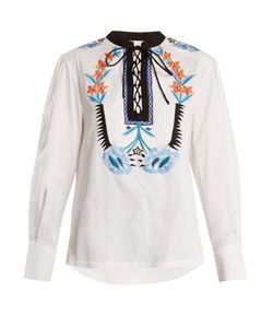 Temperley London | Peacock Embroidered Cotton Top