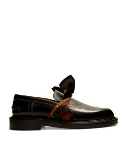 Maison Margiela | Silk-Scarf Tie-Front Leather Loafers