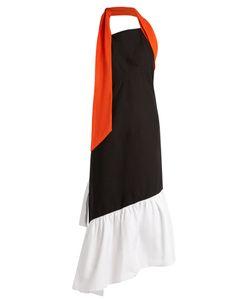 Isa Arfen | Halterneck-Knot Asymmetric Stretch-Cotton Dress
