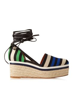 Lanvin | Striped Canvas Espadrille Wedge Sandals