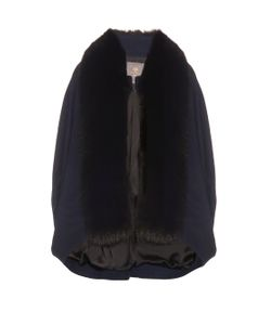 LILLY E VIOLETTA | Meagan Fox-Fur Trim Cashmere Cape