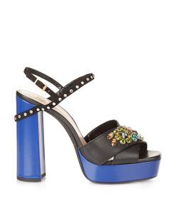 Lanvin | Crystal-Embellished Platform Leather Sandals