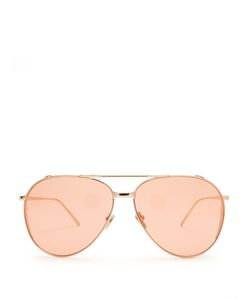 Linda Farrow | Rose Plated Aviator Sunglasses