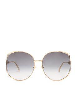 Gucci | Web-Striped Round-Frame Sunglasses