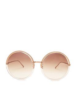 Linda Farrow | Oversized Round Roseplated Sunglasses