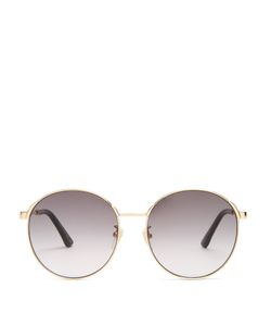 Gucci | Round-Frame Web-Striped Sunglasses