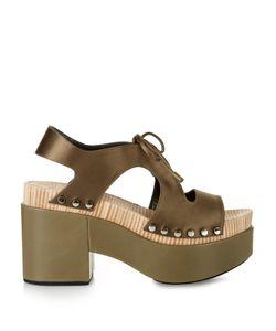 Balenciaga | Cut-Out Satin Platform Sandals