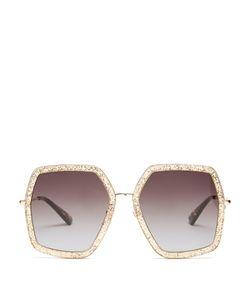 Gucci | Oversized Hexagon-Frame Sunglasses