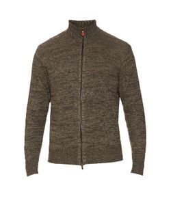 INIS MEÁIN | Donegal Zip-Up Linen-Knit Sweater