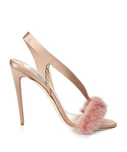 OLGANA PARIS | Lamazone Mink-Trimmed Satin Sandals