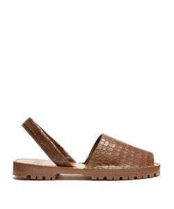 Goya | Crocodile-Effect Leather Slingback Sandals