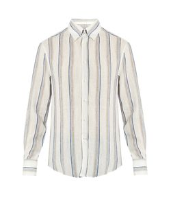 Brunello Cucinelli | Slim-Fit Stripe-Print Linen Shirt