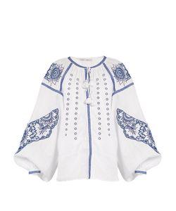 Vita Kin | Owl Cutwork-Embroidered Linen Blouse