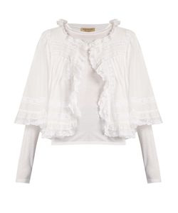 Burberry | Cardamine Lace-Trimmed Cotton-Overlay Jersey Top