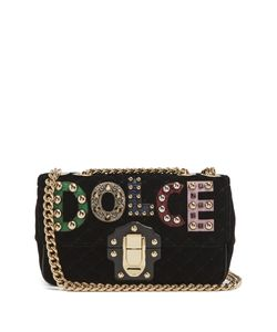 Dolce & Gabbana | Lucia Logo-Appliqué Quilted-Velvet Shoulder Bag