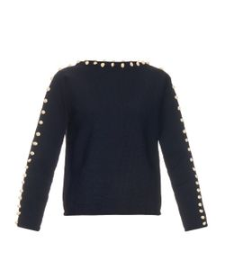 TRADEMARK | Bobble-Trim Cotton-Knit Sweater
