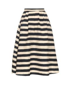 Saloni | Naomi Striped Textured-Crepe Skirt