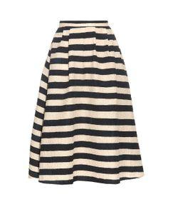 Saloni | Naomi Striped Textured-Crepe Skirt