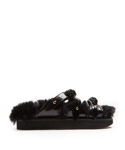 Simone Rocha | Faux-Fur Lined Leather Slides