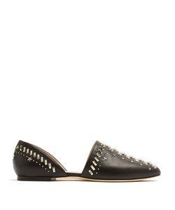 Jimmy Choo | Globe Stud-Embellished Leather Flats