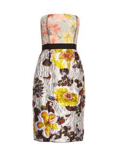 Oscar de la Renta | Floral-Jacquard Brocade Strapless Dress