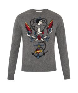 Valentino | Tattoo-Intarsia Cashmere-Blend Sweater