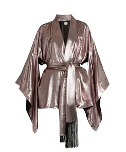 HILLIER BARTLEY | Tie-Waist Silk-Lamé Kimono Jacket