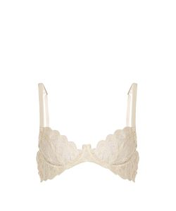 COCO DE MER | Pandion Embroidered-Lace Plunge Bra