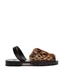 Goya | -Print Rabbit-Fur Slingback Sandals