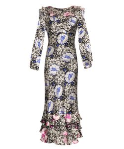 DORU OLOWU | Zanzibar Flower-Print Silk-Satin Dress