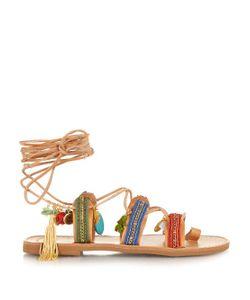 ELINA LINARDAKI | Frida Embellished Leather Flat Sandals