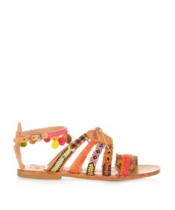 ELINA LINARDAKI | Hula Hoop Embellished Leather Flat Sandals