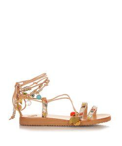ELINA LINARDAKI | Stardust Embellished Leather Flat Sandals