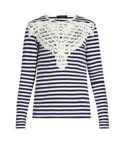 Burberry | Lace-Appliqué Striped T-Shirt
