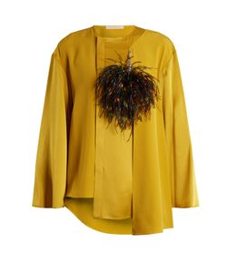 Christopher Kane | Feather-Brooch Crepe-Cady Blouse