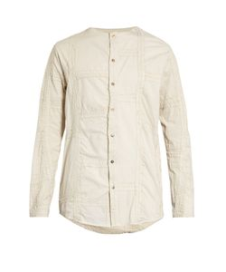 BY WALID | Collarless Embroide-Panel Antique-Cotton Shirt