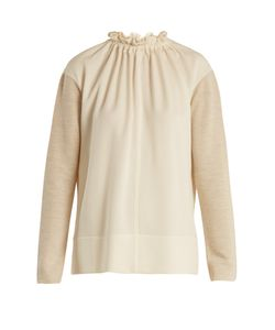 Marni | Gathered-Neck Contrast-Panel Wool-Blend Top