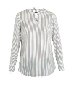 Brunello Cucinelli | Neck-Embellished Striped Silk Blouse