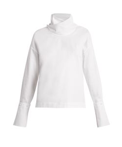 Adam Lippes | Crossover Funnel-Neck Cotton Top
