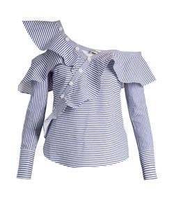 SELF-PORTRAIT | One-Shoulder Striped Cotton Shirt